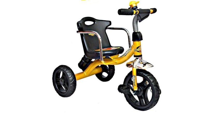 Amardeep Cycles Baby n Kids Tricycle Bingo with Sturdy Back Seat and Side Safety Bars with Water Bottle n Musical Horn , 1 to 4 Years (Multiclour)