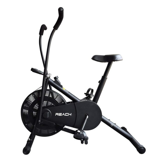 bicycle crunches, Reach Air Bike Exercise Cycle With Moving Handles & Adjustable Cushioned Seat